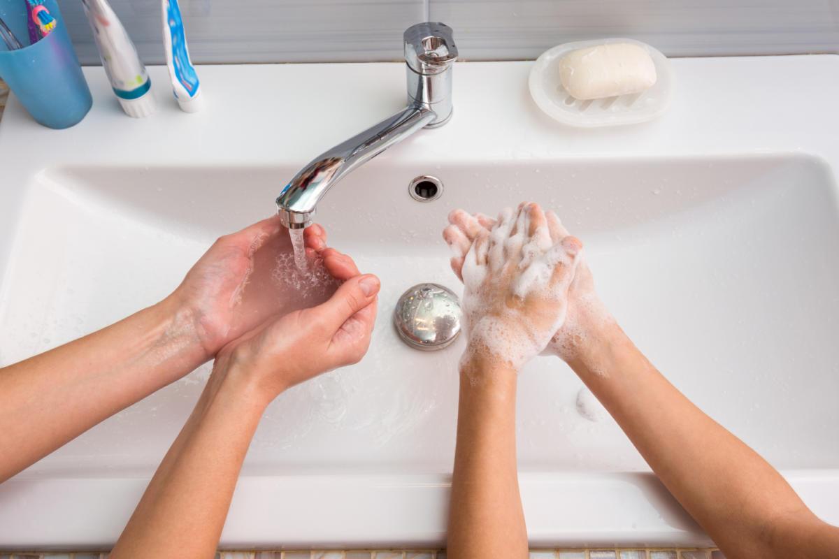 Washing Hand With Kid