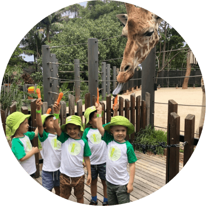 Kids enjoying with animals